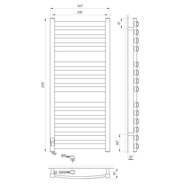 Схема Электрический полотенцесушитель Laris Зебра Атлант Премиум ЧК14 500х1200 Э (подключение слева)