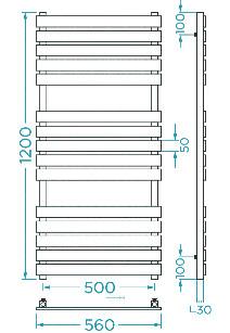 Схема Водяной полотенцесушитель Mario Бетто 1200x560/500