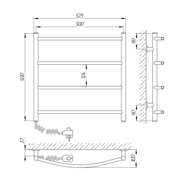 Схема Электрический полотенцесушитель Laris Зебра Классик ЧК4 500х500 Э (подключение слева)
