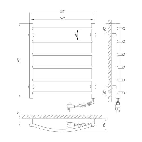 Схема Электрический полотенцесушитель Laris Зебра Классик ЧК6 500х600 Э (подключение справа)