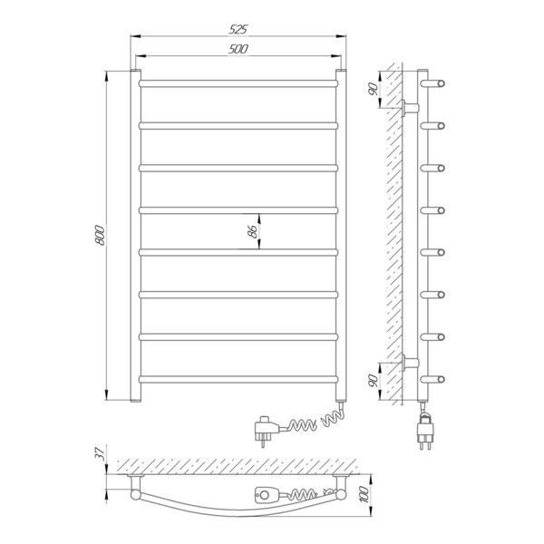 Схема Электрический полотенцесушитель Laris Зебра Классик ЧК8 500х800 Э (подключение справа)