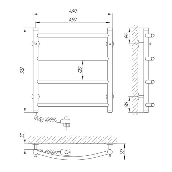 Схема Электрический полотенцесушитель Laris Классик П4 450х500 Э (подключение слева)