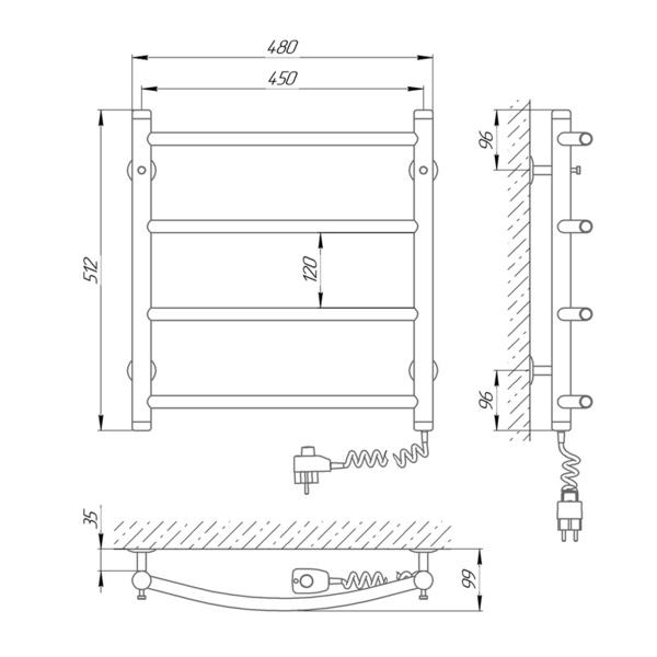 Схема Электрический полотенцесушитель Laris Классик П4 450х500 Э (подключение справа)