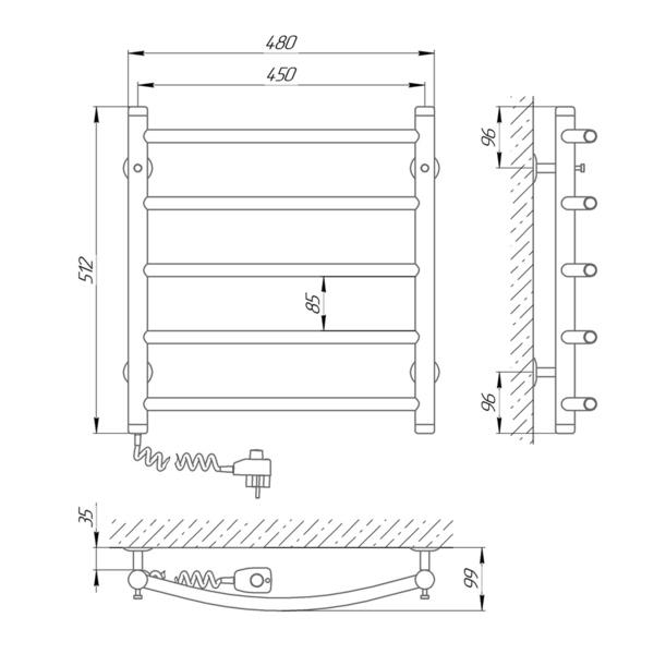 Схема Электрический полотенцесушитель Laris Классик П5 450х500 Э (подключение слева)