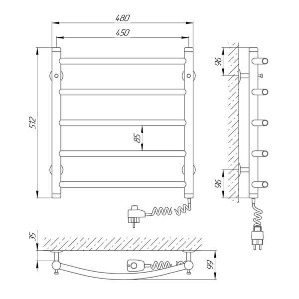 Схема Электрический полотенцесушитель Laris Классик П5 450х500 Э (подключение справа)