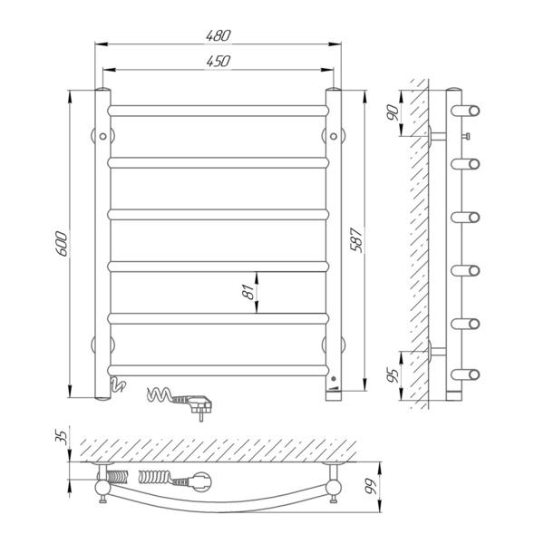 Схема Электрический полотенцесушитель Laris Классик П6 450х600 Э (подключение слева)