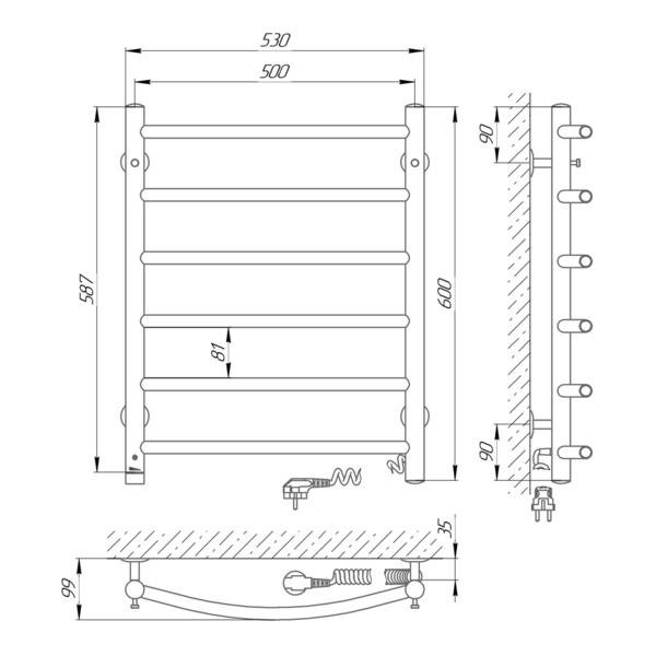 Схема Электрический полотенцесушитель Laris Классик П6 500х600 Э (подключение справа)