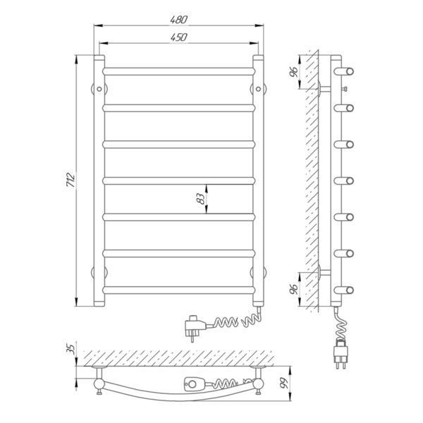 Схема Электрический полотенцесушитель Laris Классик П7 450х700 Э (подключение справа)