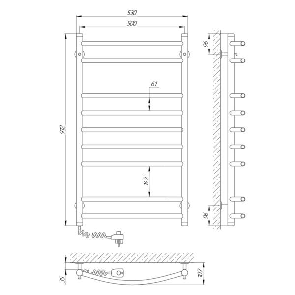 Схема Электрический полотенцесушитель Laris Классик П9 500х900 Э (подключение слева)