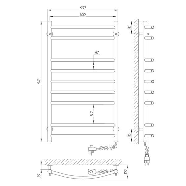 Схема Электрический полотенцесушитель Laris Классик П9 500х900 Э (подключение справа)