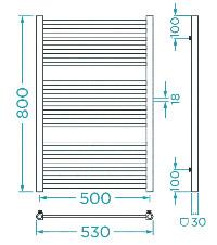Схема Водяной полотенцесушитель Mario Данте 800x530/500