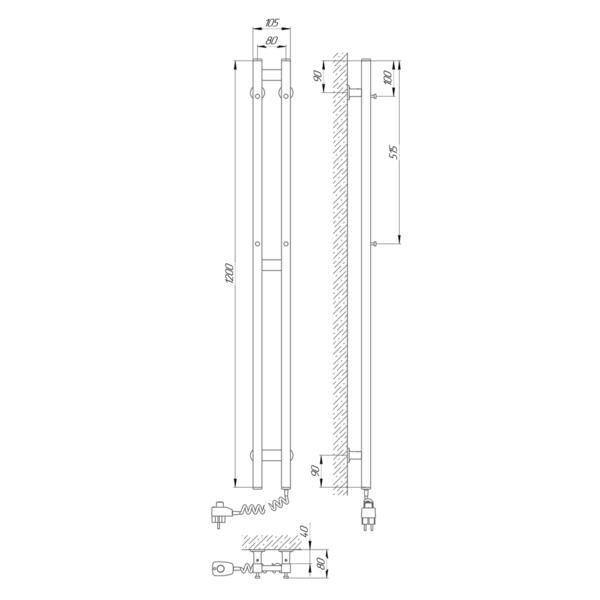 Схема Электрический полотенцесушитель Laris Зебра Дуэт 80х1200 Э (подключение справа)