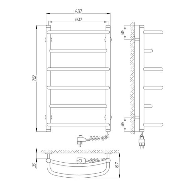 Схема Электрический полотенцесушитель Laris Еврофлеш П6 400х700 Э (подключение справа)