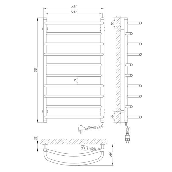 Схема Электрический полотенцесушитель Laris Евромикс П10 500х900 Э (подключение справа)