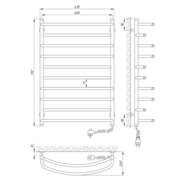 Схема Электрический полотенцесушитель Laris Евромикс П10 600х900 Э (подключение справа)