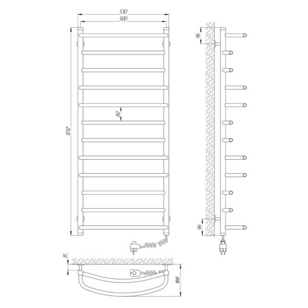 Схема Электрический полотенцесушитель Laris Евромикс П12 500х1200 Э (подключение справа)