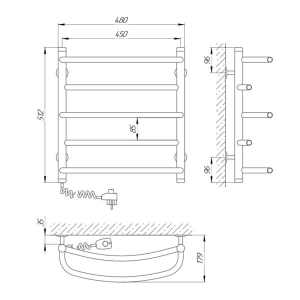 Схема Электрический полотенцесушитель Laris Евромикс П5 450х500 Э (подключение слева)