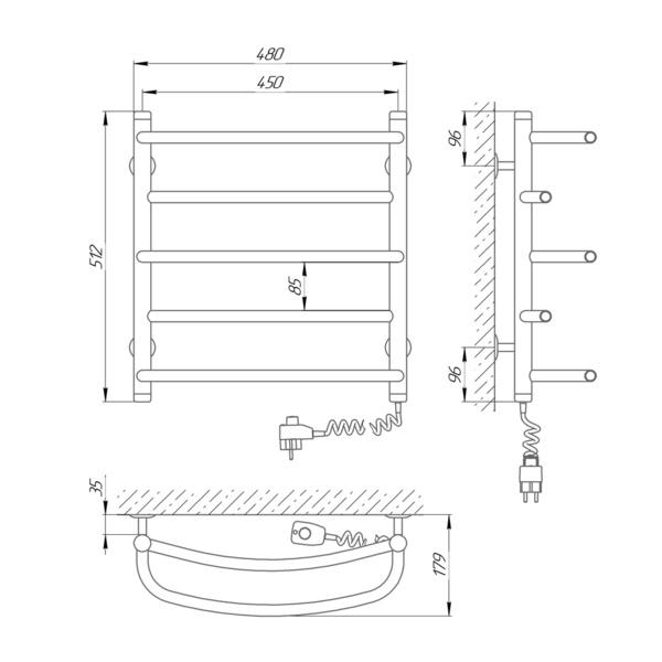 Схема Электрический полотенцесушитель Laris Евромикс П5 450х500 Э (подключение справа)