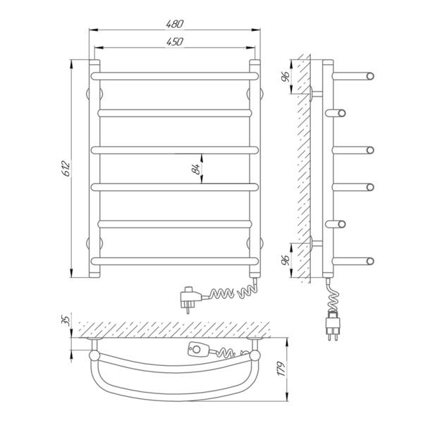 Схема Электрический полотенцесушитель Laris Евромикс П6 450х600 Э (подключение справа)