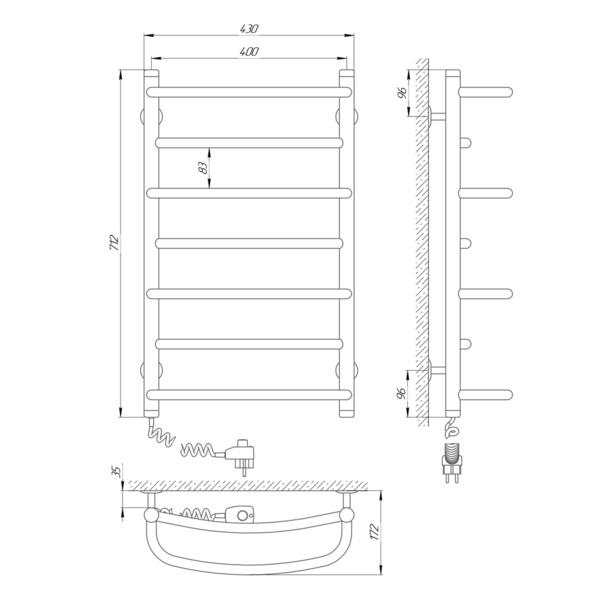 Схема Электрический полотенцесушитель Laris Евромикс П7 400х700 Э (подключение слева)