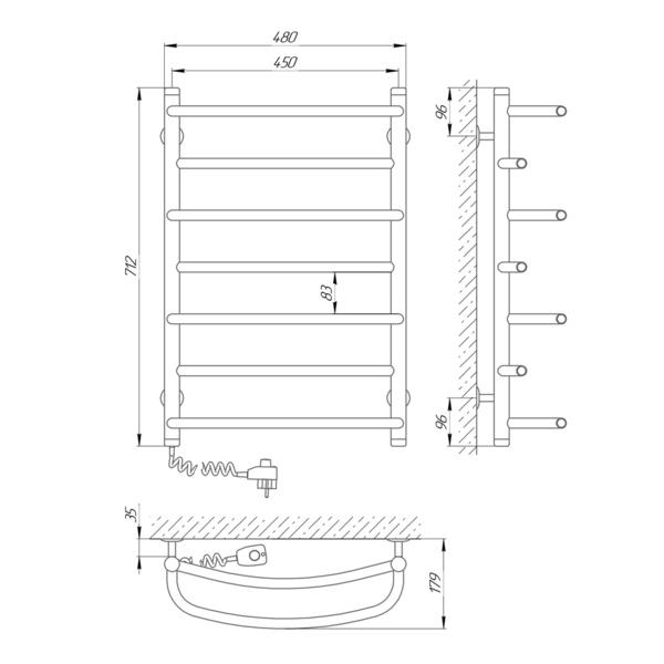 Схема Электрический полотенцесушитель Laris Евромикс П7 450х700 Э (подключение слева)