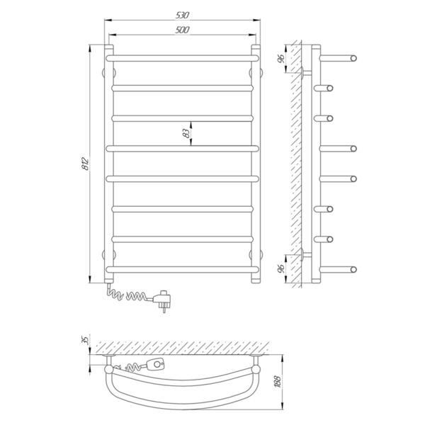 Схема Электрический полотенцесушитель Laris Евромикс П8 500х800 Э (подключение слева)