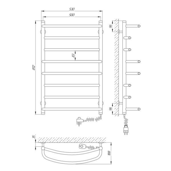 Схема Электрический полотенцесушитель Laris Евромикс П8 500х800 Э (подключение справа)