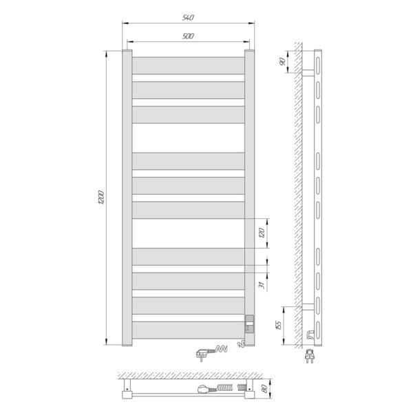 Схема Электрический полотенцесушитель Laris Зебра Гефест Премиум ЧК10 500х1200 Э (подключение справа)