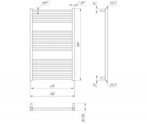 Схема Водяной полотенцесушитель Mario Гера 800x500/470