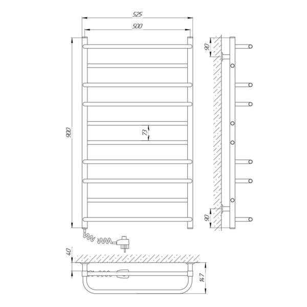 Схема Электрический полотенцесушитель Laris Зебра Комфорт ЧК10 500х900 Э (подключение слева)