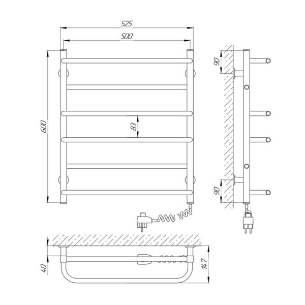 Схема Электрический полотенцесушитель Laris Зебра Комфорт ЧК5 500х600 Э (подключение справа)