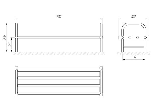 Схема Сушка для обуви Laris Кватро М4 300х900 матовая