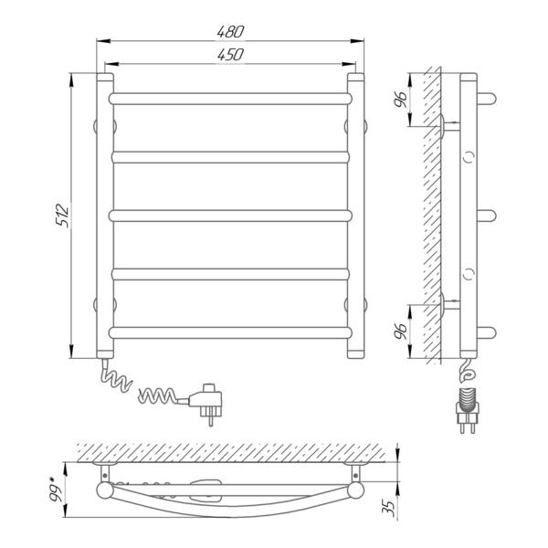 Схема Электрический полотенцесушитель Laris Микс П5 450х500 Э (подключение слева)