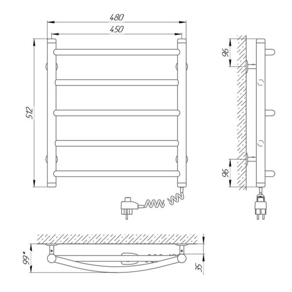 Схема Электрический полотенцесушитель Laris Микс П5 450х500 Э (подключение справа)