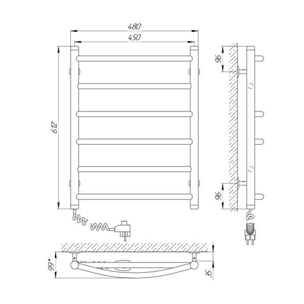 Схема Электрический полотенцесушитель Laris Микс П6 450х600 Э (подключение слева)