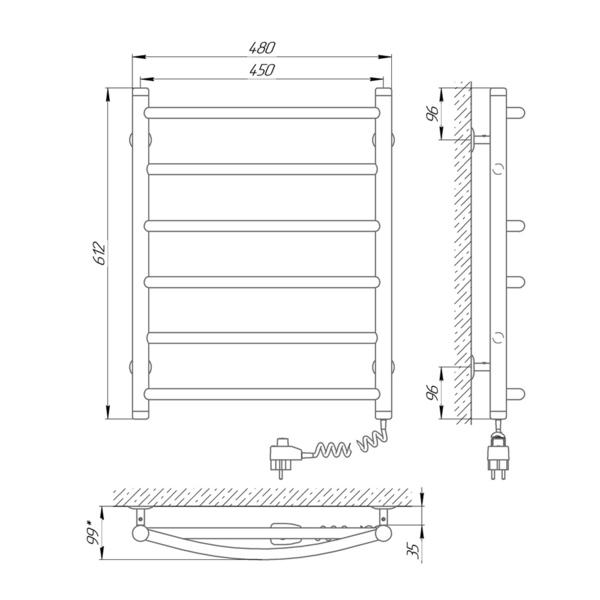 Схема Электрический полотенцесушитель Laris Микс П6 450х600 Э (подключение справа)