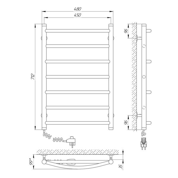 Схема Электрический полотенцесушитель Laris Микс П7 450х700 Э (подключение слева)