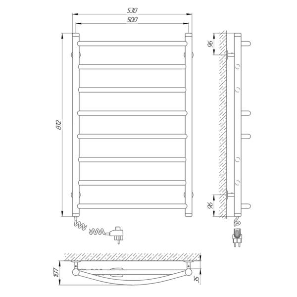 Схема Электрический полотенцесушитель Laris Микс П8 500х800 Э (подключение слева)