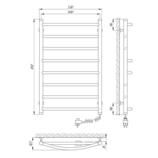 Схема Электрический полотенцесушитель Laris Микс П8 500х800 Э (подключение справа)