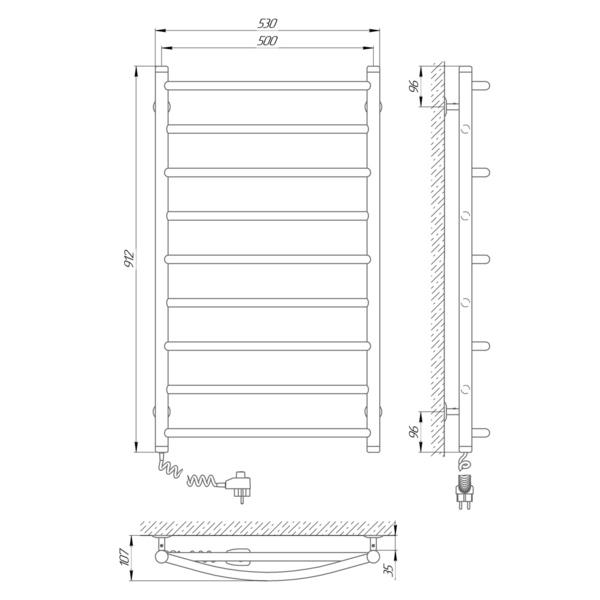 Схема Электрический полотенцесушитель Laris Микс П9 500х900 Э (подключение слева)