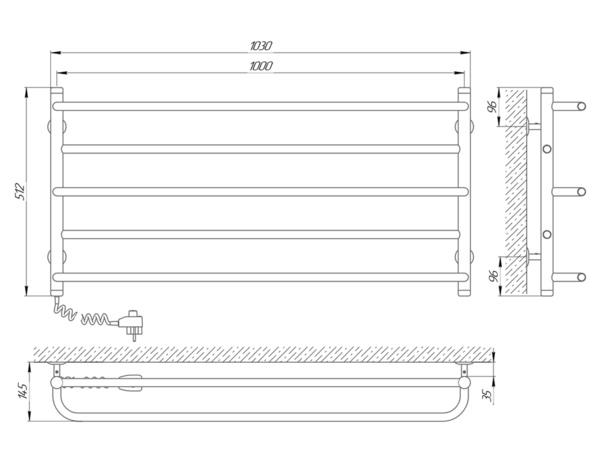 Схема Электрический полотенцесушитель Laris Практик П5 1000х500 Э (подключение слева)
