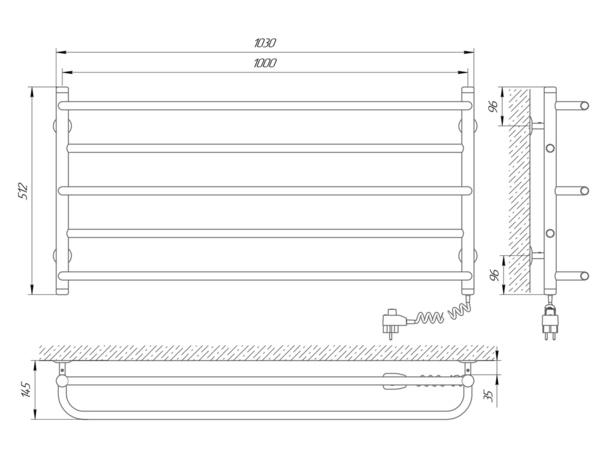 Схема Электрический полотенцесушитель Laris Практик П5 1000х500 Э (подключение справа)