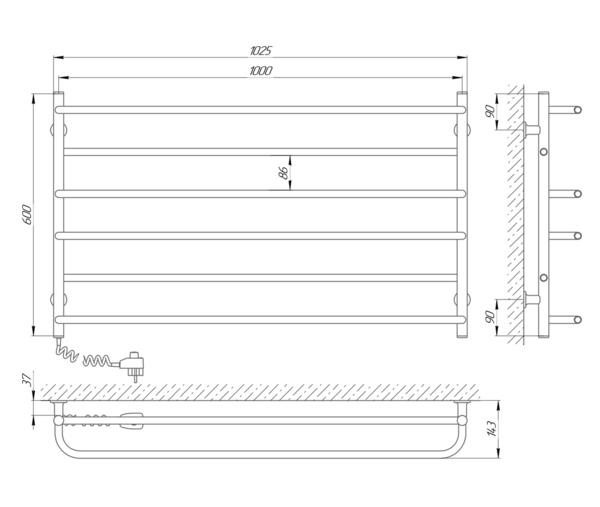 Схема Электрический полотенцесушитель Laris Зебра Практик ЧК6 1000х600 Э (подключение слева)