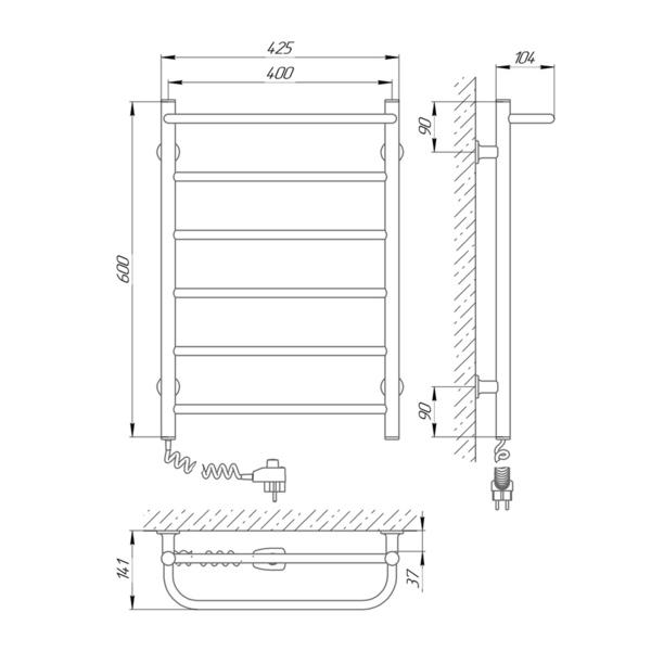Схема Электрический полотенцесушитель Laris Зебра Прайм ЧК6 400х600 Э (подключение слева)