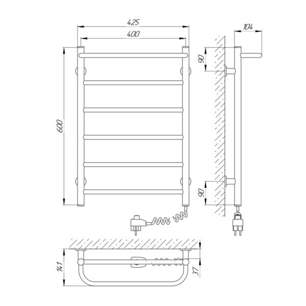 Схема Электрический полотенцесушитель Laris Зебра Прайм ЧК6 400х600 Э (подключение справа)