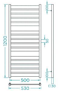 Схема Водяной полотенцесушитель Mario Санти 1200x530/500