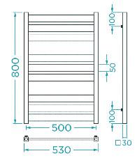 Схема Водяной полотенцесушитель Mario Санти 800x530/500
