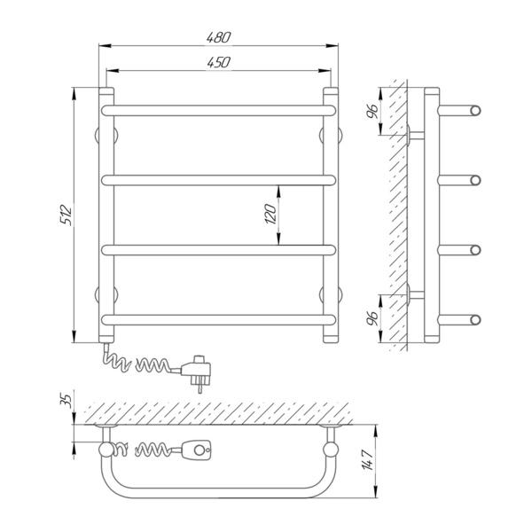 Схема Электрический полотенцесушитель Laris Стандарт П4 450х500 Э (подключение слева)