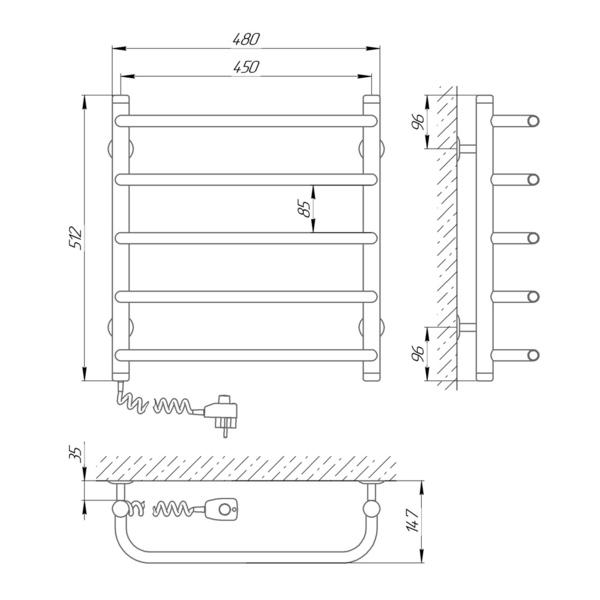 Схема Электрический полотенцесушитель Laris Стандарт П5 450х500 Э (подключение слева)