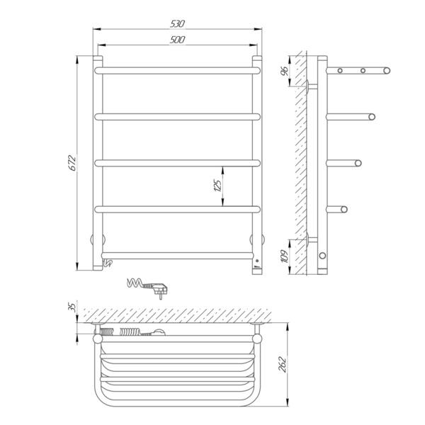 Схема Электрический полотенцесушитель Laris Стандарт П5 500х660 Э с полкой (подключение слева)